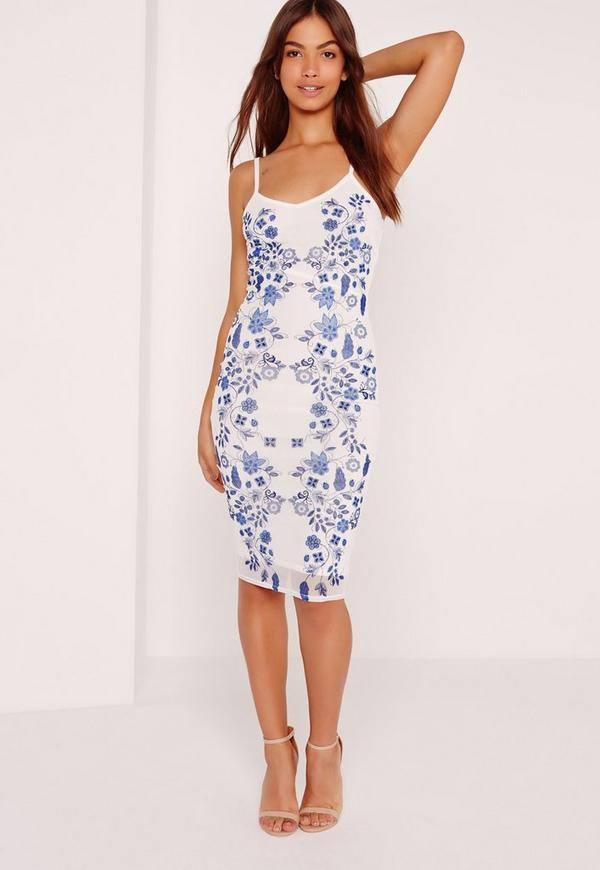 Strappy Puff Print Midi Dress White