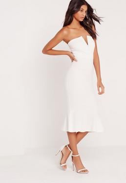 V-Plunge Fishtail Scuba Midi Dress White