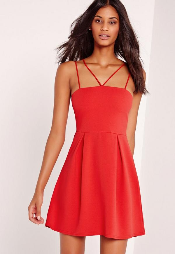 Double Strap A-Line Skater Dress Red-16
