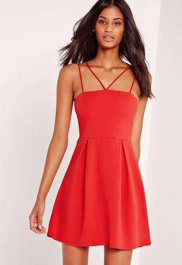 Double Strap A-Line Skater Dress Red