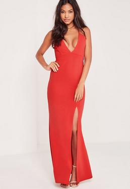 V Plunge Strappy Maxi Dress Red
