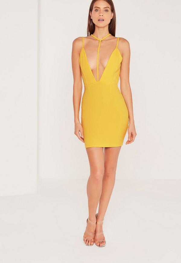 Plunge Harness Cross Strap Bodycon Dress Yellow