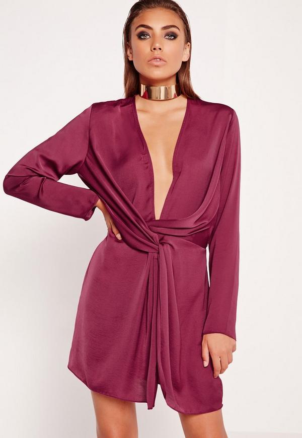 Satin Wrap Mini Dress Burgundy