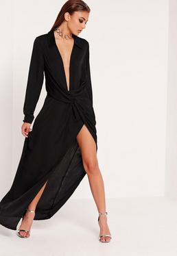 Robe longue drapée noire
