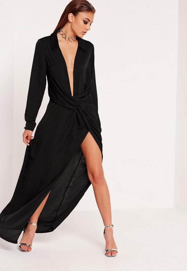 Wrap Front Shirt Maxi Dress Black