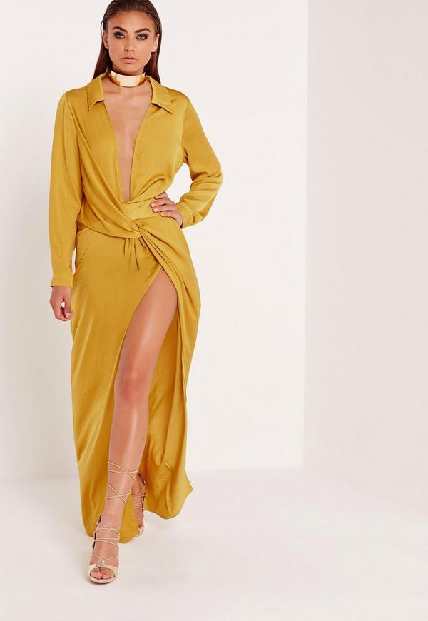 Robe longue drapée jaune moutarde