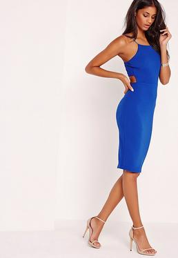 Crepe Strappy Cut Out Back Midi Dress Blue