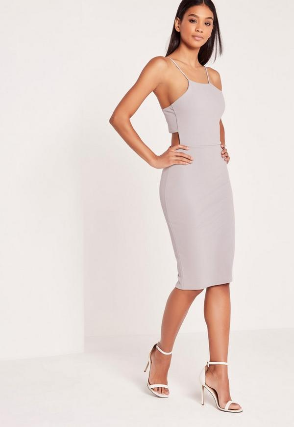 Crepe Strappy Cut Out Back Midi Dress Ice Grey