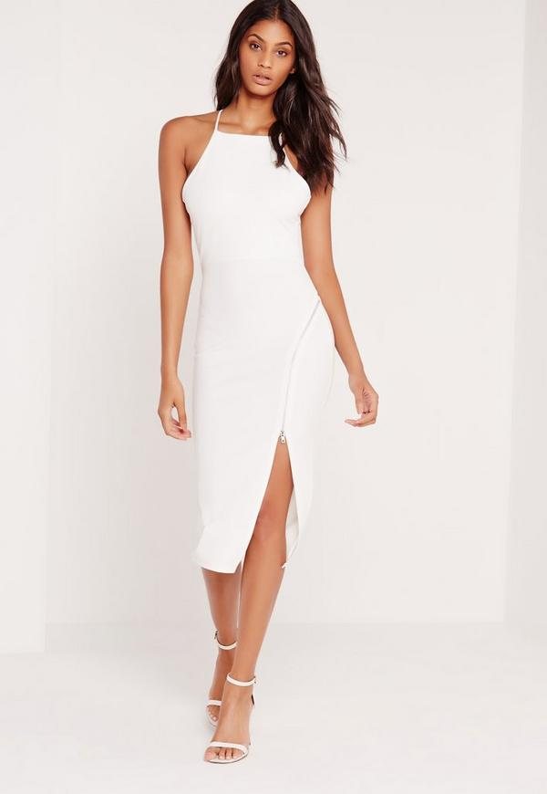 Zip Front Racer Neck Midi Dress White