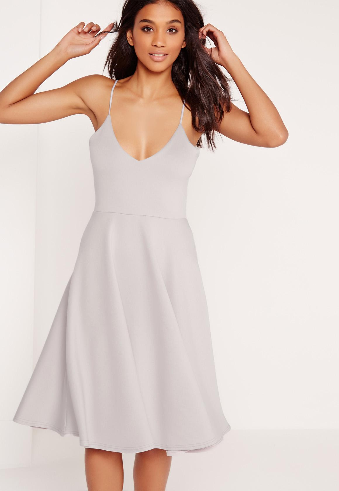 60c93ff991 Scuba Plunge Midi Skater Dress Grey
