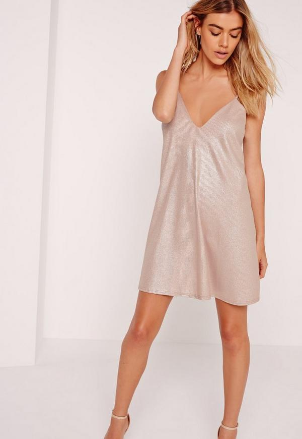 Strappy Ribbed Cami Swing Dress Nude