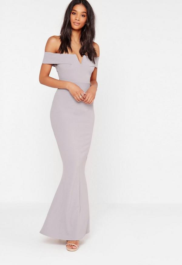 Crepe Bardot V Plunge Maxi Dress Grey