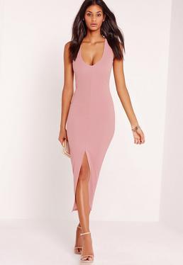Plunge Front Split Midi Dress Pink