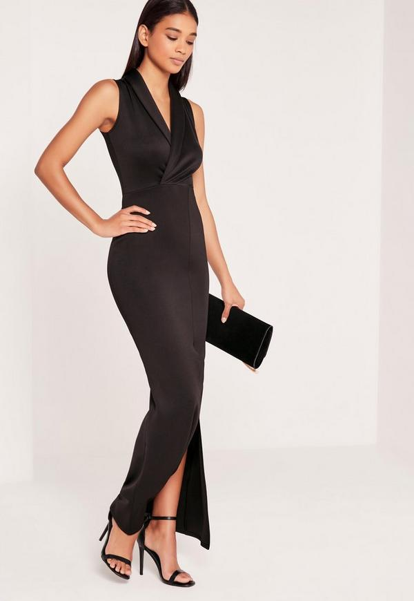 Wrap Front Scuba Maxi Dress Black