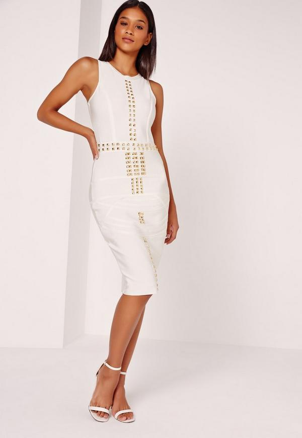 Premium Bandage Gold Studded Midi Dress White