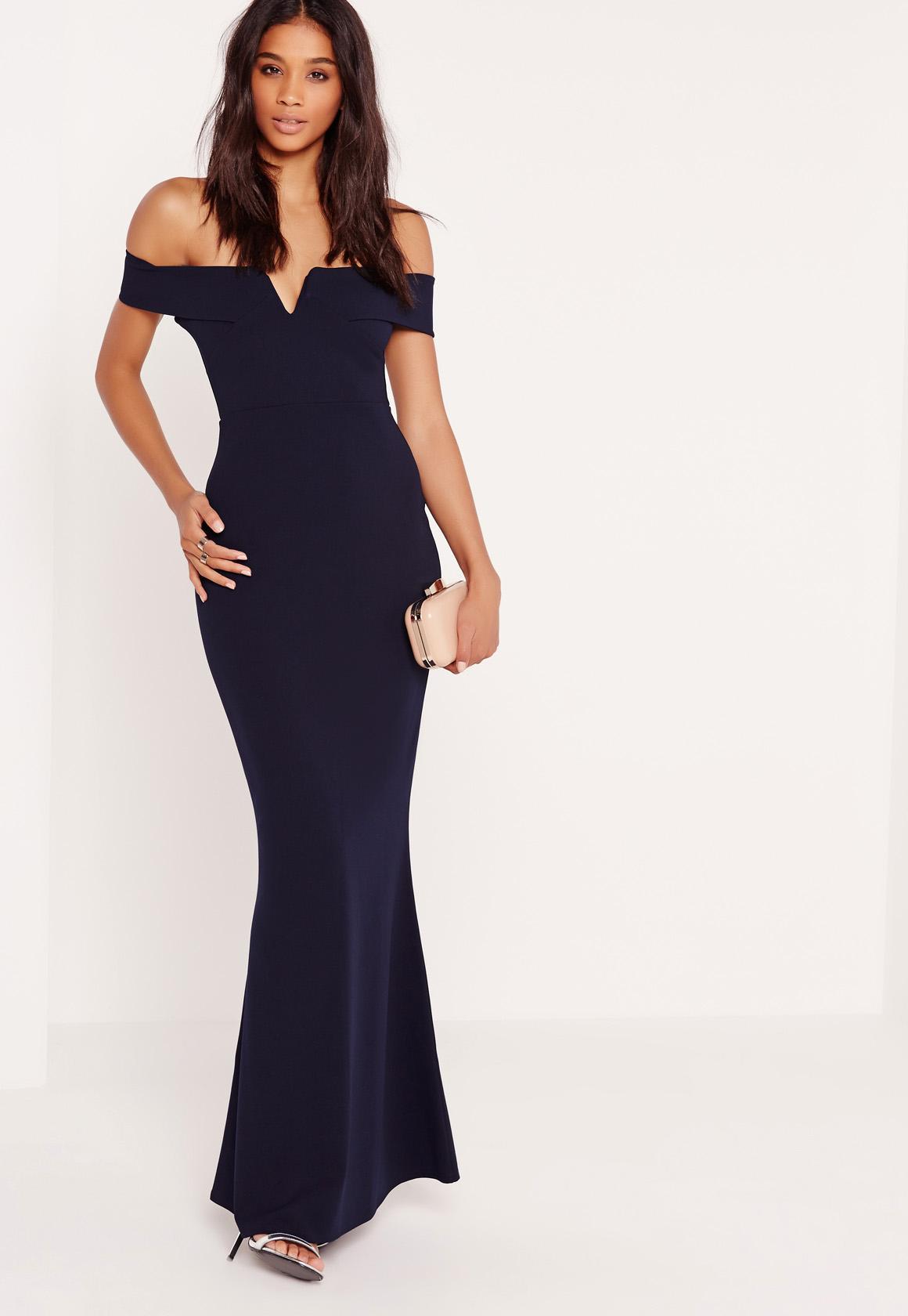 Bardot Crepe V Plunge Maxi Dress Navy