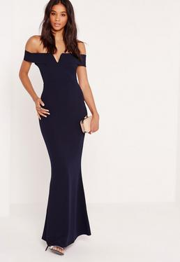 Bardot Crepe V Plunge Maxi Dress Navy