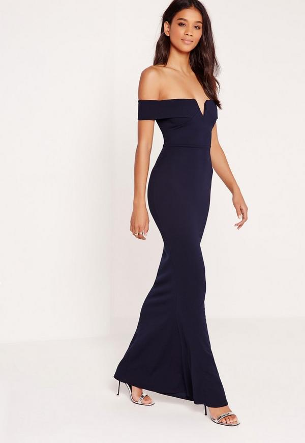 Bardot Crepe V Plunge Maxi Dress Navy Missguided