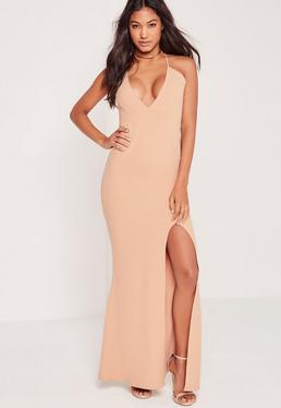 V Plunge Strappy Maxi Dress Nude