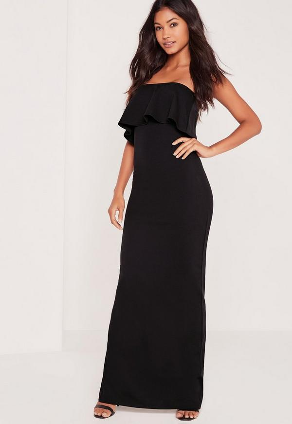 Bandeau Frill Maxi Dress Black
