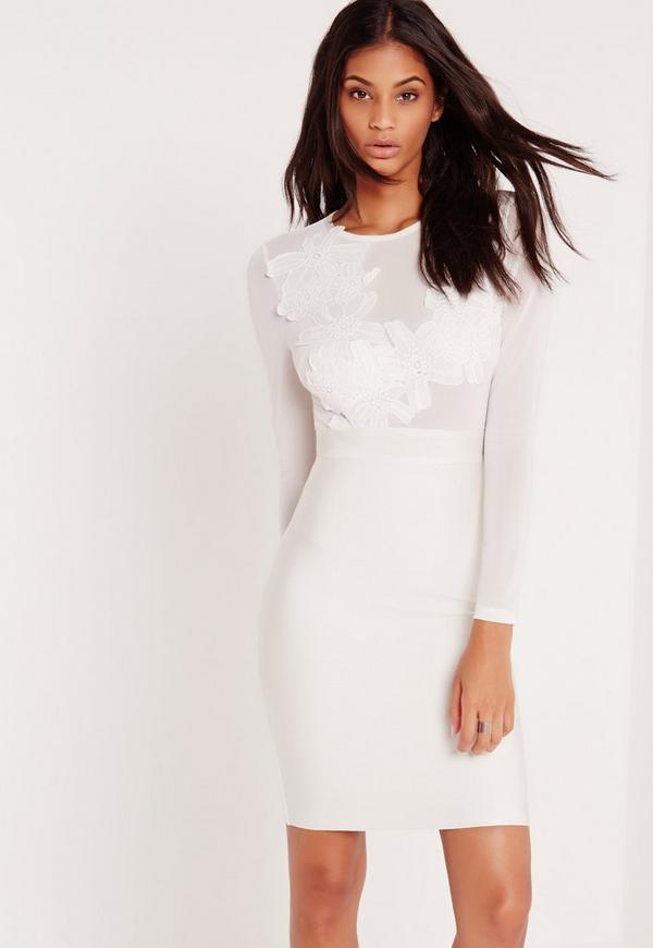 Premium Bandage Lace Applique Midi Dress White