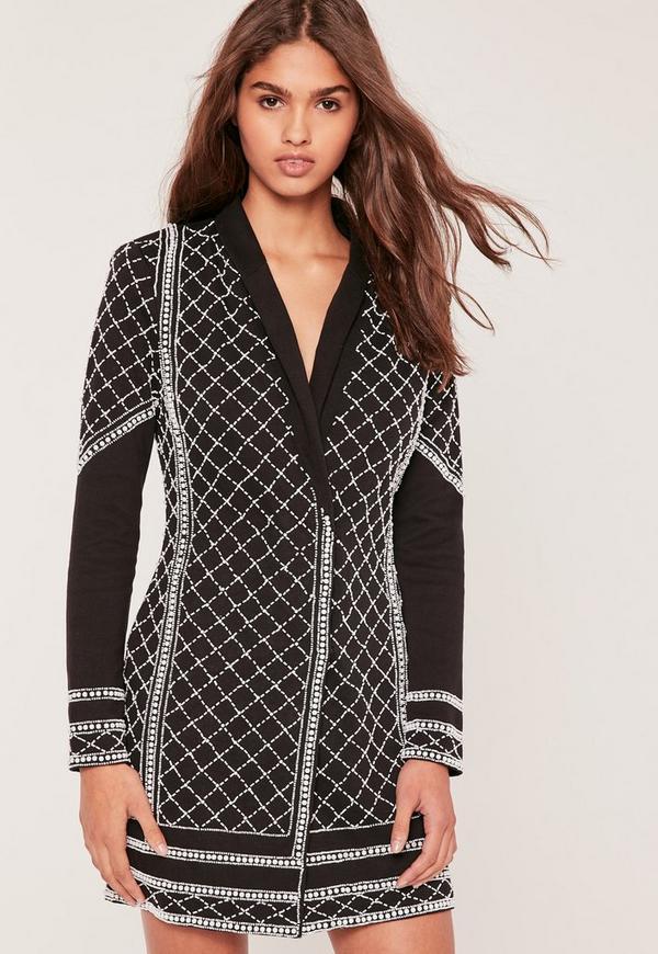 Premium Embellished Blazer Dress Black