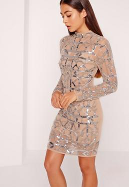 Premium High Neck Sequin Embellished Bodycon Dress Silver