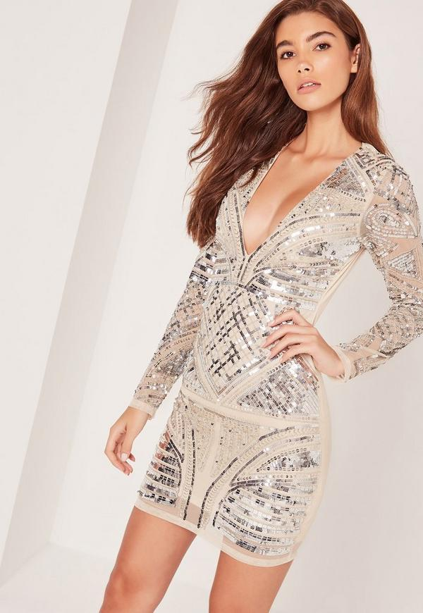 Premium Sequin Embellished Long Sleeve Plunge Bodycon Dress Nude