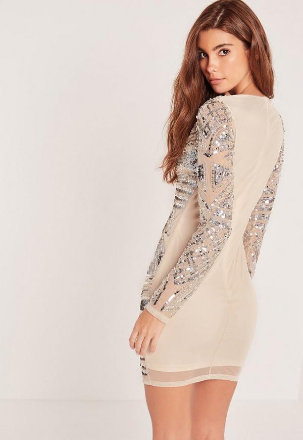 Kardashian style dress missguided white sequin bodycon sleeve long