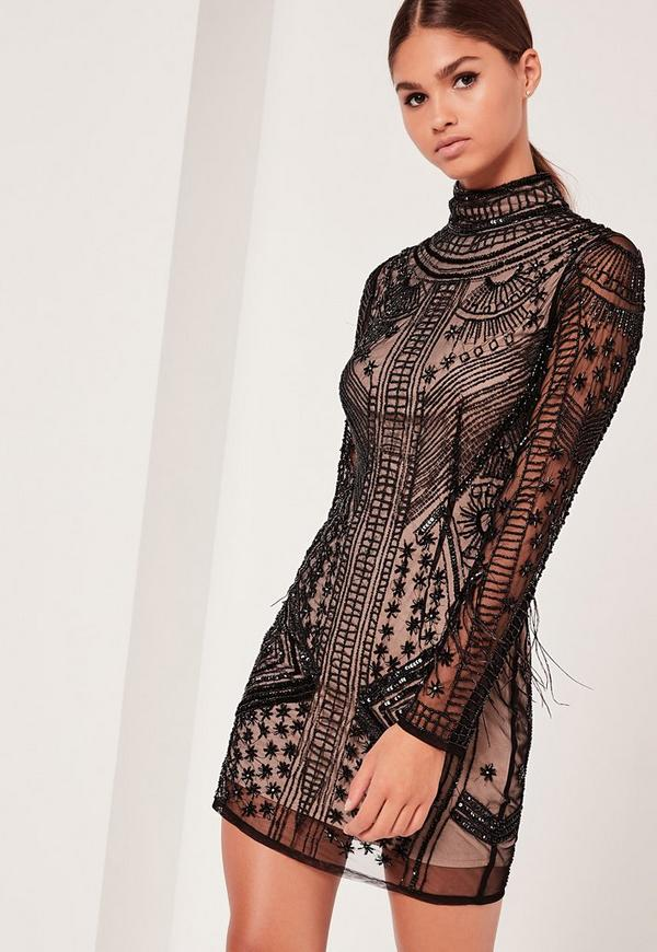 Premium High Neck Feather Sleeve Bodycon Dress Black
