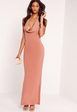 Slinky Cowl Halter Neck Maxi Dress Pink