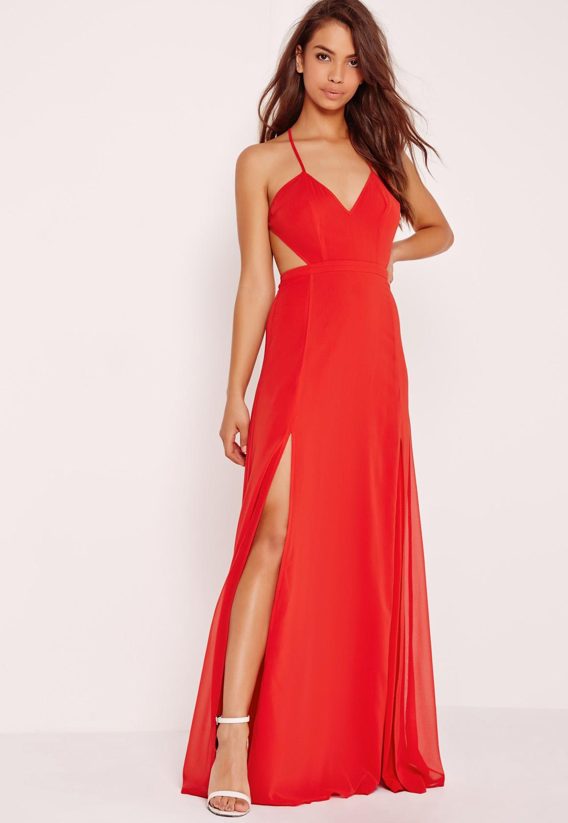 Strappy Cut Out Maxi Dress Red | Missguided