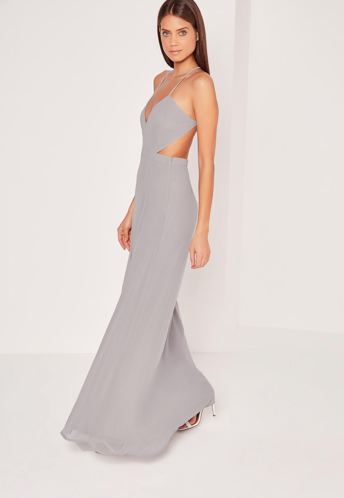 Strappy Cut Out Maxi Dress Ice Grey | Missguided