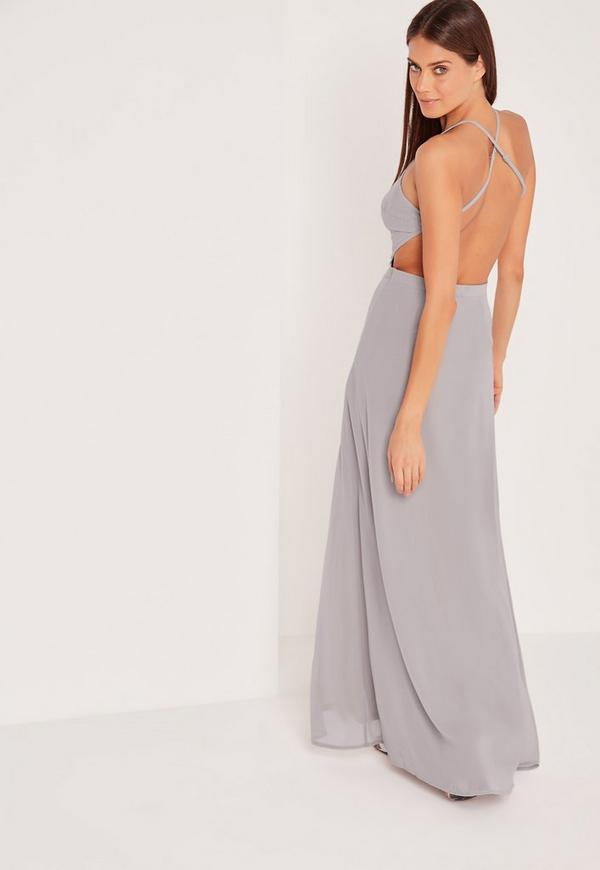 Gray cut out maxi dress