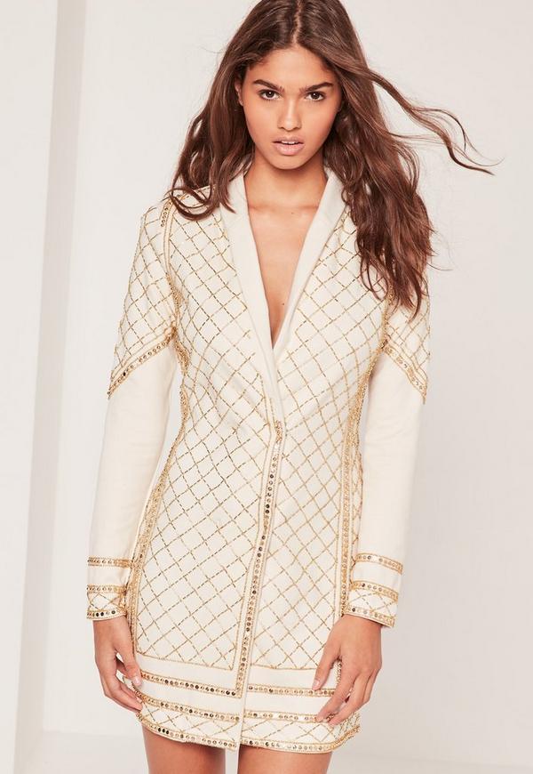 Premium Embellished Blazer Dress Cream