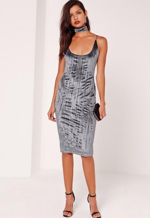 2 Piece Crushed Velvet Choker Midi Dress Grey