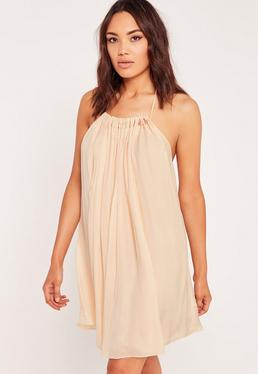 Pleated Halter Neck Swing Dress Nude