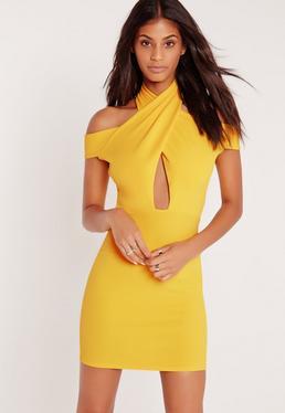 Cross Front Halter Bodycon Dress Yellow