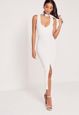 Plunge Front Split Midi Dress White