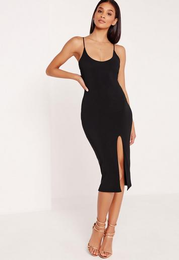 Black Strappy Scoop Neck Bodycon Midi Dress Missguided