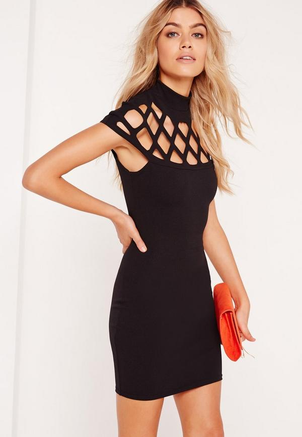 Laser Cut Cage Bodycon Dress Black