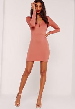 V Bar Plunge Long Sleeve Bodycon Dress Pink