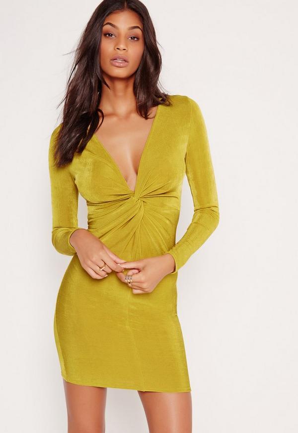 Twist Front Slinky Bodycon Dress Chartreuse Green