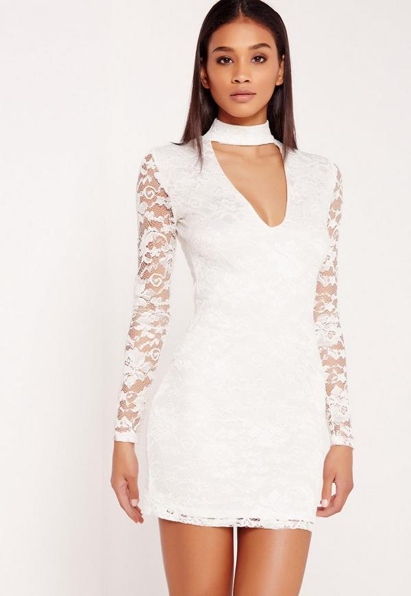 Long Sleeve Lace Choker Mini Dress White
