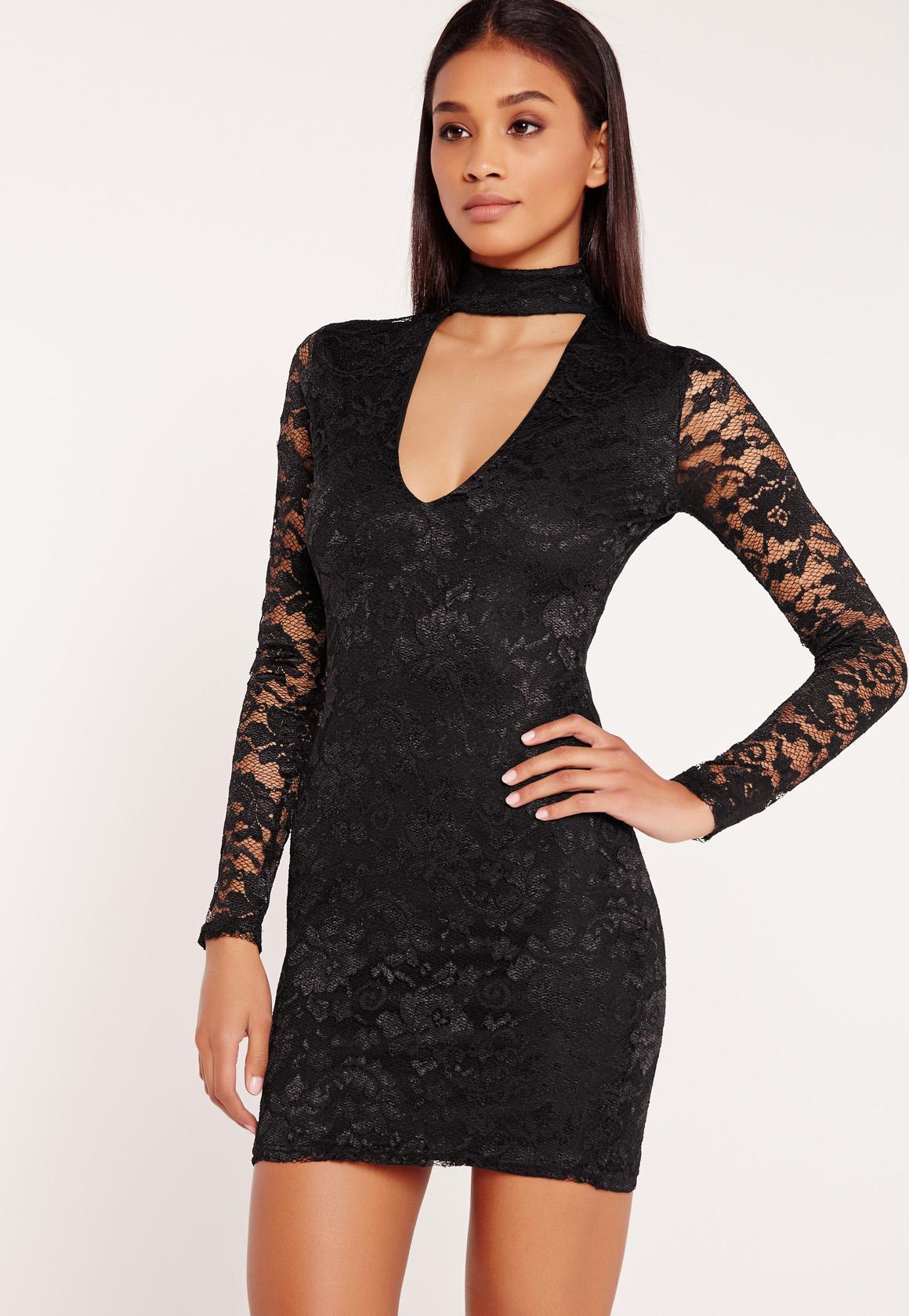 Black mini dress lace sleeves