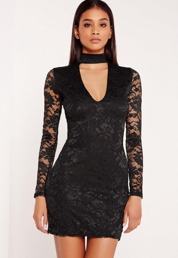 Long Sleeve Lace Choker Mini Dress Black | Missguided
