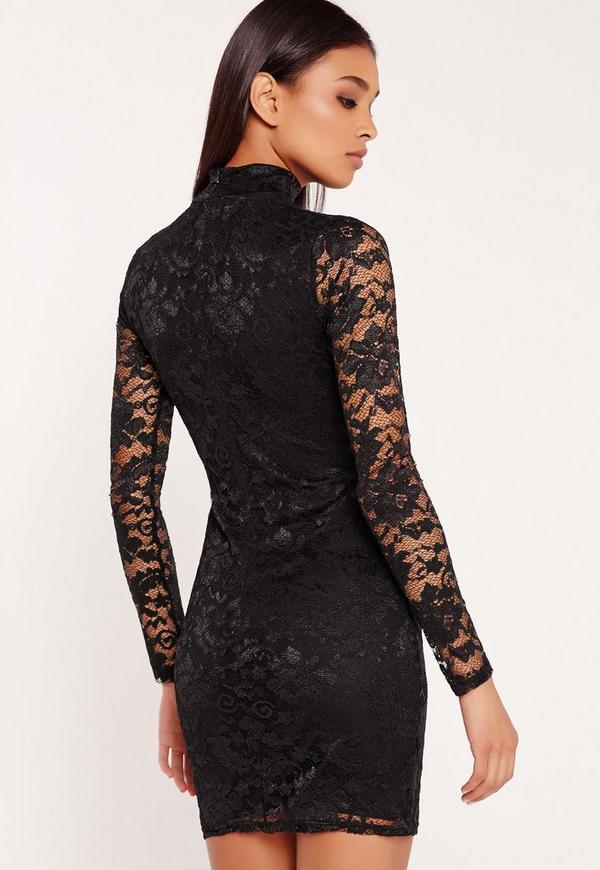 Mini black lace dresses