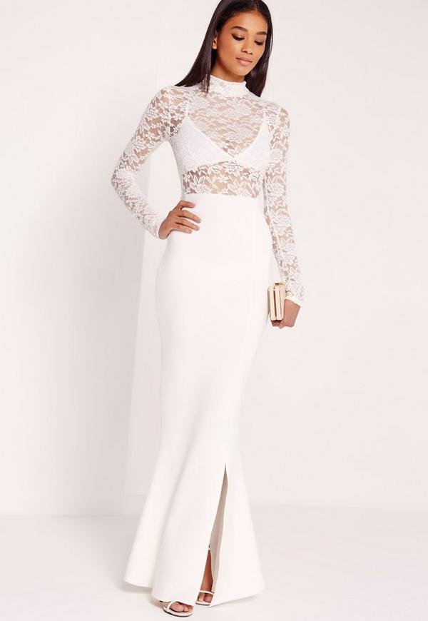 Lace Bodycon Maxi Dress White