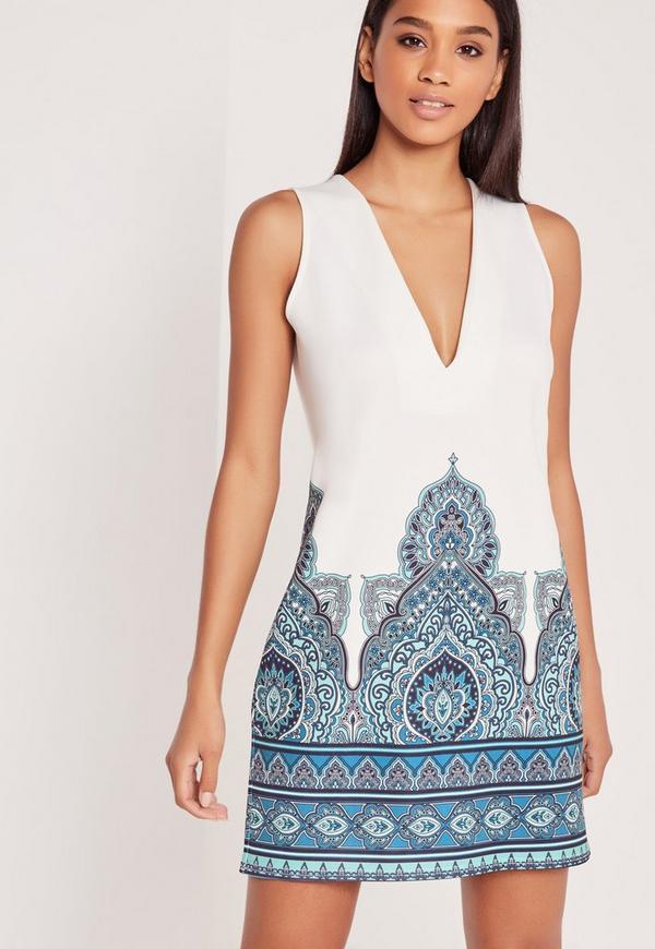 Plunge Border Print Dress White/Blue