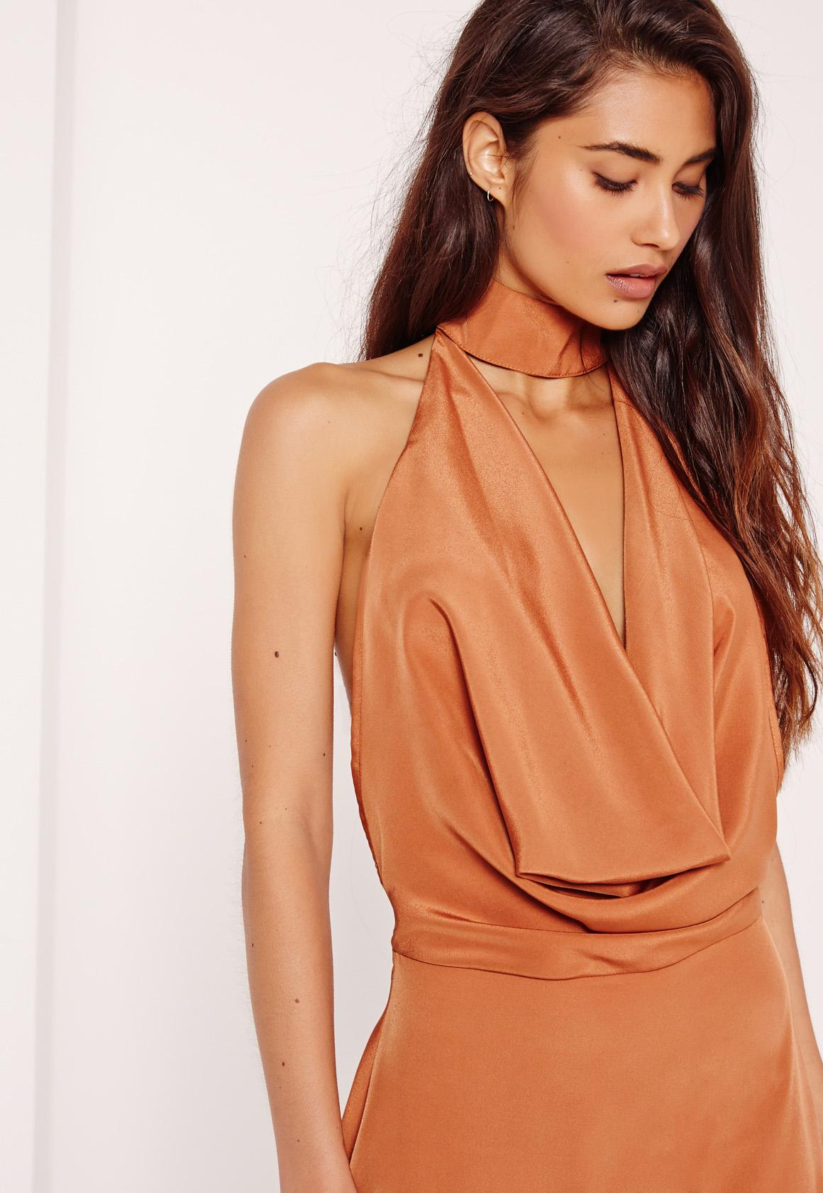 Silky Choker Neck Cowl Shift Dress Tan
